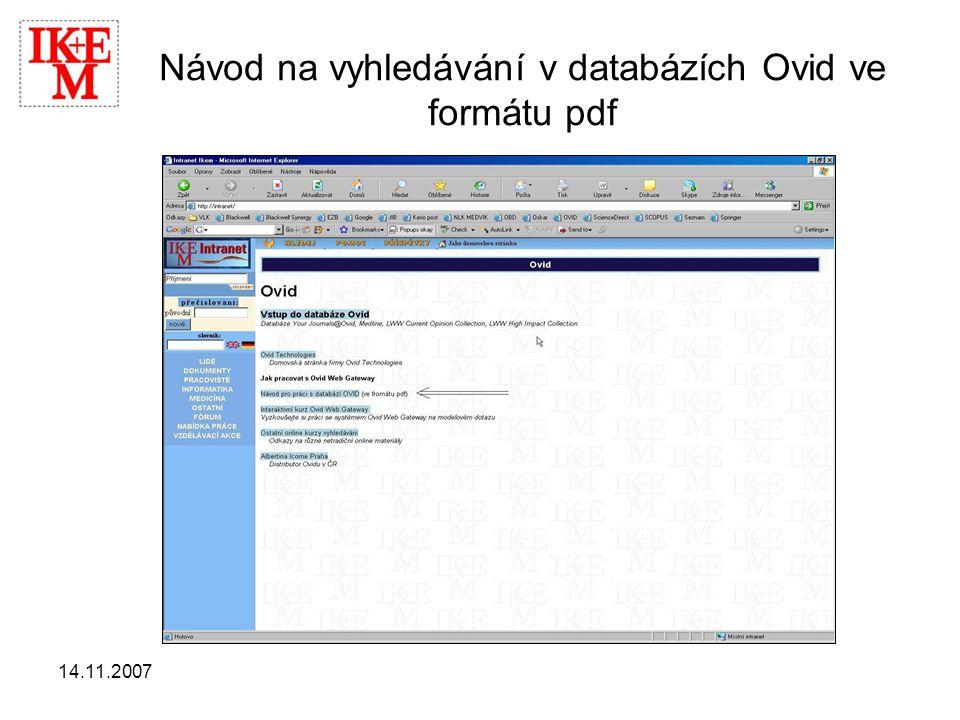 14.11.2007 Návod na vyhledávání v databázích Ovid ve formátu pdf