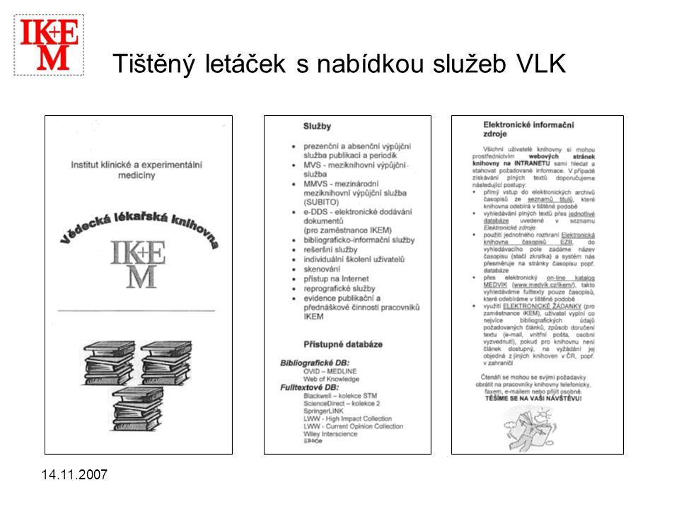 14.11.2007 Tištěný letáček s nabídkou služeb VLK