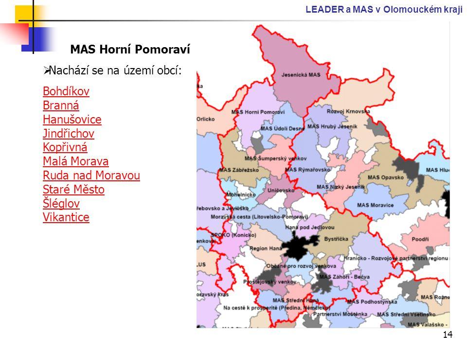 14 LEADER a MAS v Olomouckém kraji MAS Horní Pomoraví  Nachází se na území obcí: Bohdíkov Branná Hanušovice Jindřichov Kopřivná Malá Morava Ruda nad