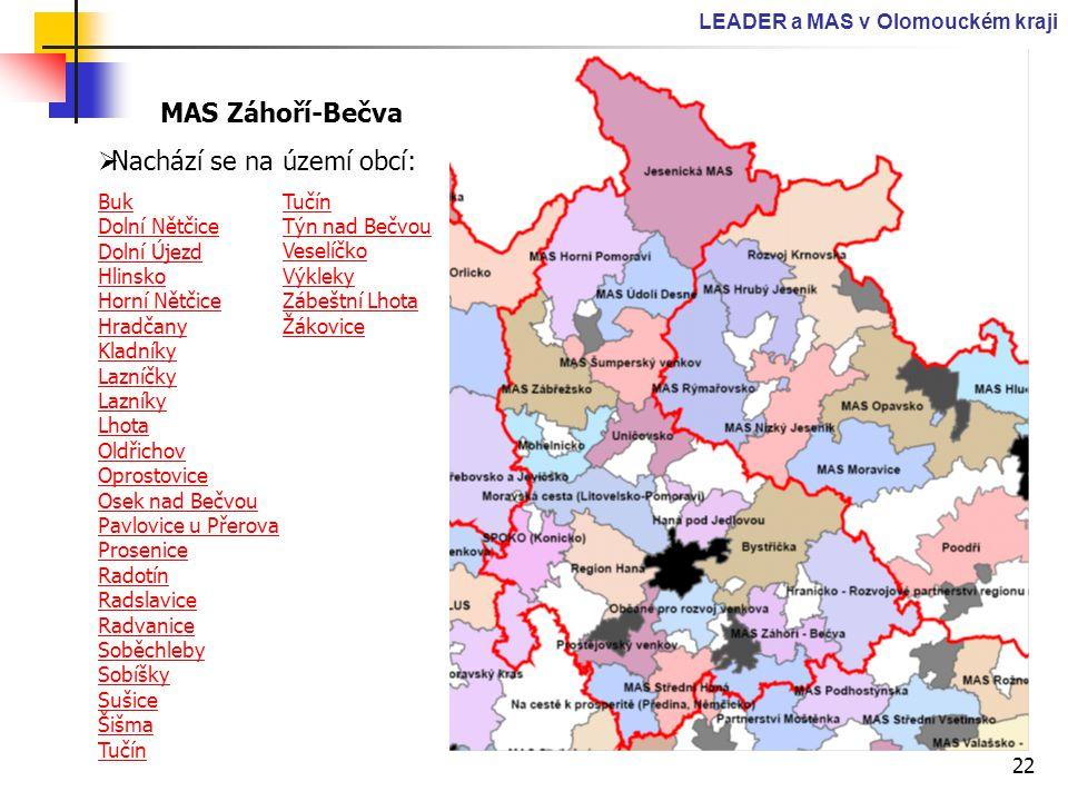 22 LEADER a MAS v Olomouckém kraji MAS Záhoří-Bečva  Nachází se na území obcí: Buk Dolní Nětčice Dolní Újezd Hlinsko Horní Nětčice Hradčany Kladníky
