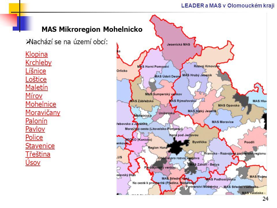 24 LEADER a MAS v Olomouckém kraji MAS Mikroregion Mohelnicko  Nachází se na území obcí: Klopina Krchleby Líšnice Loštice Maletín Mírov Mohelnice Mor