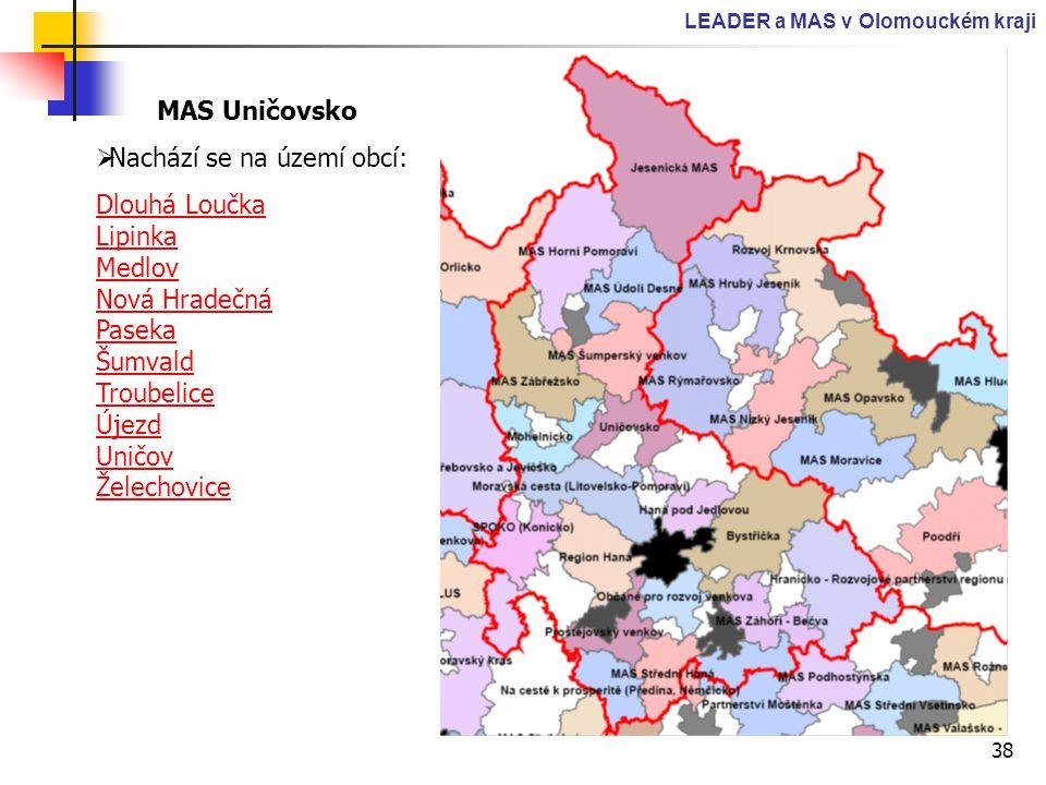38 LEADER a MAS v Olomouckém kraji MAS Uničovsko  Nachází se na území obcí: Dlouhá Loučka Lipinka Medlov Nová Hradečná Paseka Šumvald Troubelice Újez