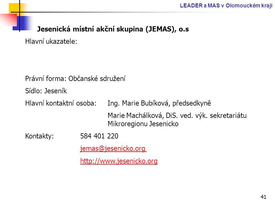 41 LEADER a MAS v Olomouckém kraji Jesenická místní akční skupina (JEMAS), o.s Hlavní ukazatele: Právní forma: Občanské sdružení Sídlo: Jeseník Hlavní