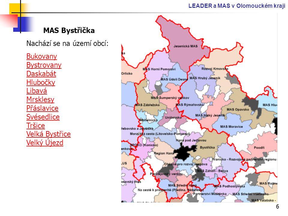 6 LEADER a MAS v Olomouckém kraji MAS Bystřička Nachází se na území obcí: Bukovany Bystrovany Daskabát Hlubočky Libavá Mrsklesy Přáslavice Svésedlice