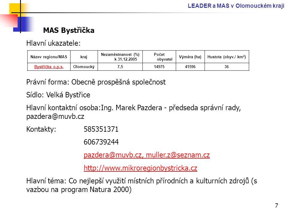 7 LEADER a MAS v Olomouckém kraji MAS Bystřička Hlavní ukazatele: Právní forma: Obecně prospěšná společnost Sídlo: Velká Bystřice Hlavní kontaktní oso