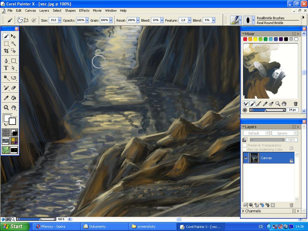 Moje vlastní grafická tvorba  grafický návrh fiktivního prostředí pro film nebo hru  využití tradiční kresby, digitální malby i 3D grafiky  software: Gimp (2D) a Blender (3D)  hardware: tablet Wacom Bamboo Fun A5