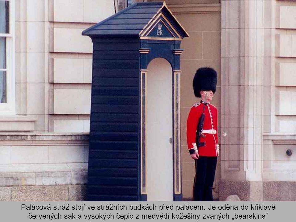 Palácová stráž stojí ve strážních budkách před palácem.