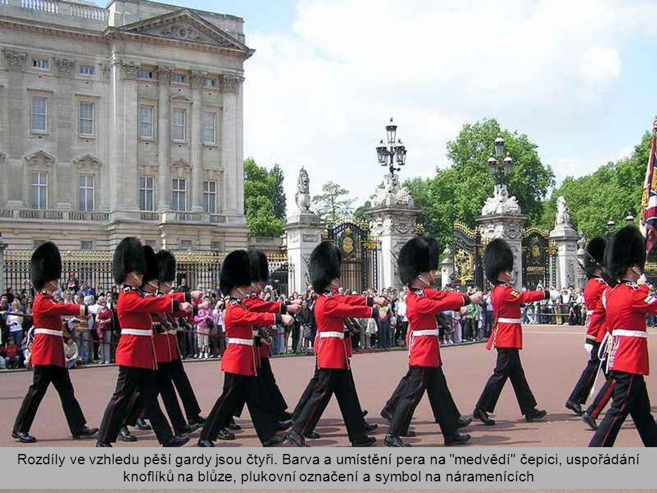 Rozdíly ve vzhledu pěší gardy jsou čtyři.