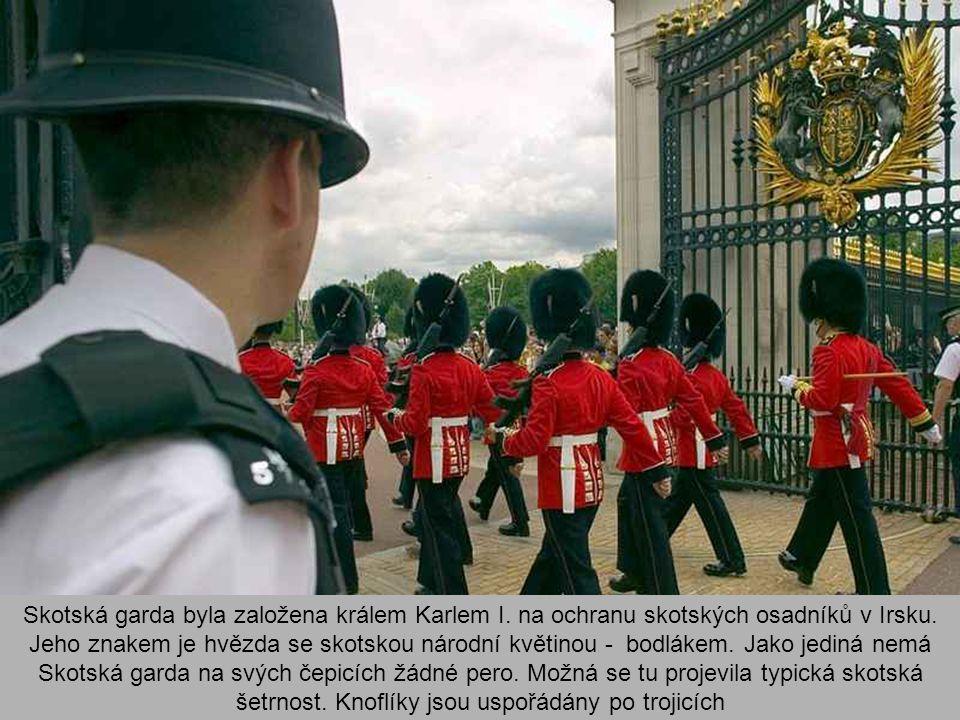 Granátnická garda (Grenadier Guards) má ve znaku, jak jinak, granát. Ten je jako plukovní označení na límci blůzy. Knoflíky jsou v řadě, pero na čepic