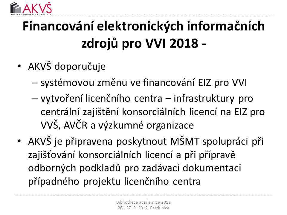 Financování elektronických informačních zdrojů pro VVI 2018 - • AKVŠ doporučuje – systémovou změnu ve financování EIZ pro VVI – vytvoření licenčního centra – infrastruktury pro centrální zajištění konsorciálních licencí na EIZ pro VVŠ, AVČR a výzkumné organizace • AKVŠ je připravena poskytnout MŠMT spolupráci při zajišťování konsorciálních licencí a při přípravě odborných podkladů pro zadávací dokumentaci případného projektu licenčního centra Bibliotheca academica 2012 26.–27.