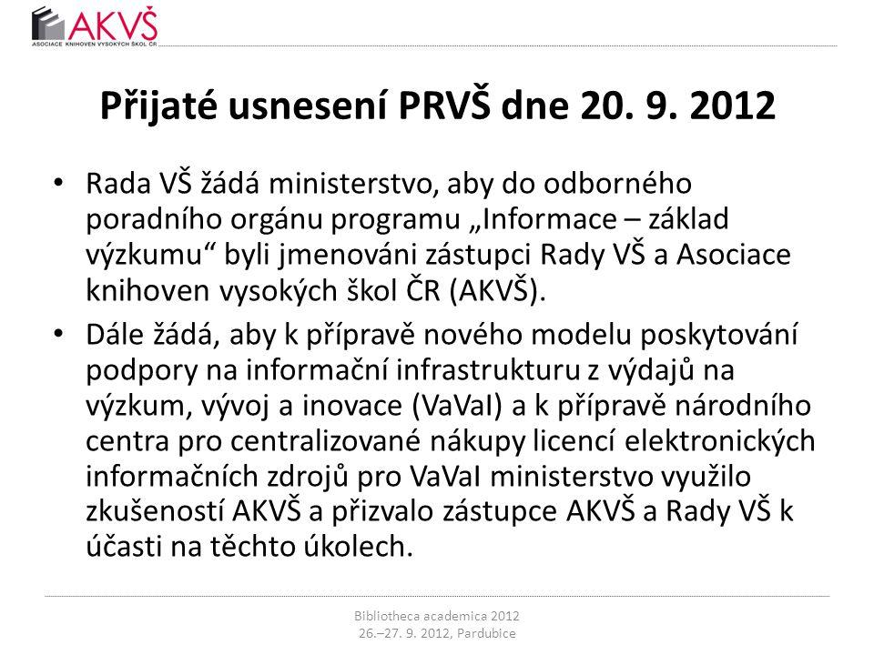 """Přijaté usnesení PRVŠ dne 20. 9. 2012 • Rada VŠ žádá ministerstvo, aby do odborného poradního orgánu programu """"Informace – základ výzkumu"""" byli jmenov"""