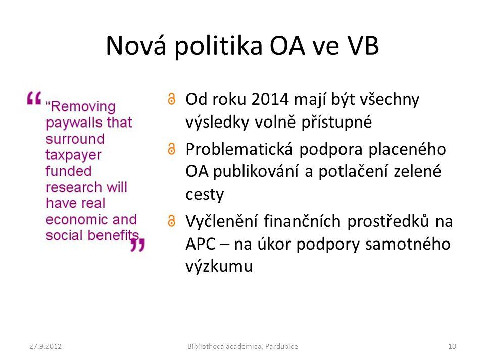 Nová politika OA ve VB Od roku 2014 mají být všechny výsledky volně přístupné Problematická podpora placeného OA publikování a potlačení zelené cesty