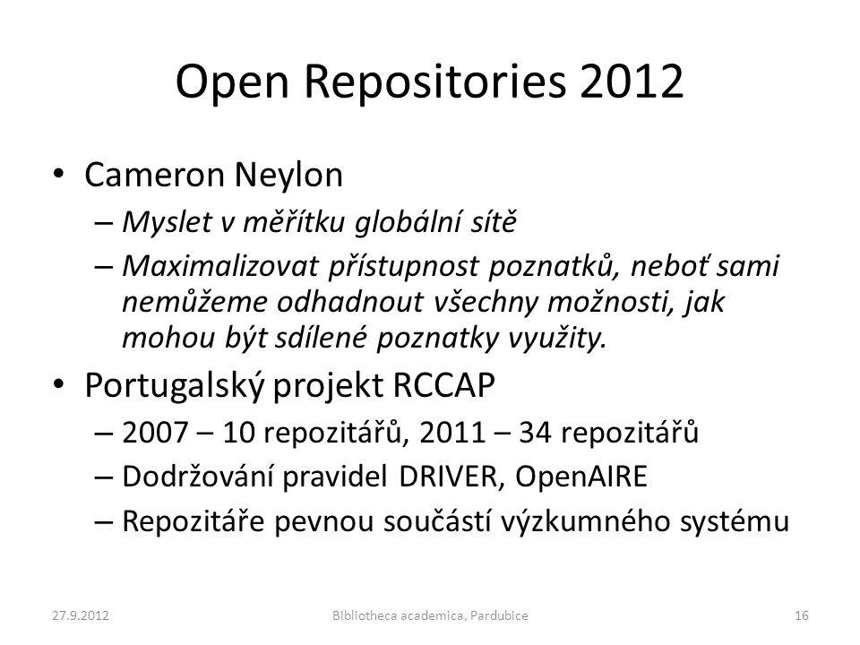 Open Repositories 2012 • Cameron Neylon – Myslet v měřítku globální sítě – Maximalizovat přístupnost poznatků, neboť sami nemůžeme odhadnout všechny m