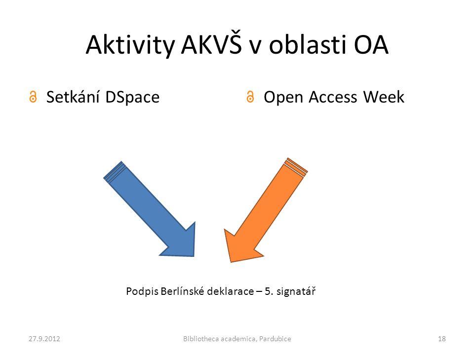 Aktivity AKVŠ v oblasti OA Setkání DSpaceOpen Access Week 27.9.2012Bibliotheca academica, Pardubice18 Podpis Berlínské deklarace – 5. signatář