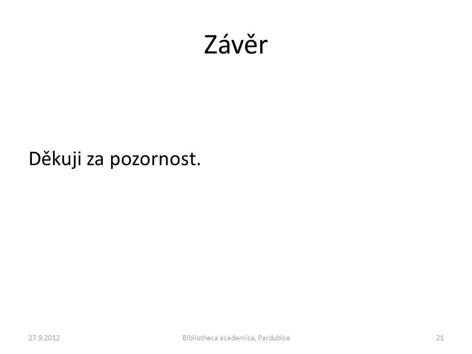 Závěr Děkuji za pozornost. 27.9.2012Bibliotheca academica, Pardubice21