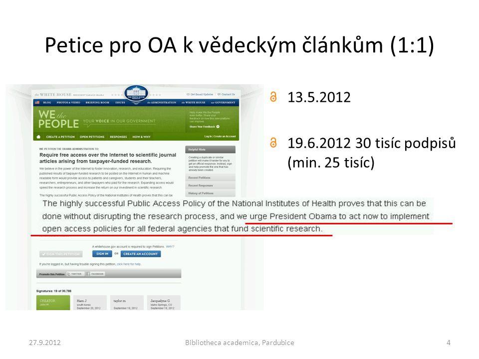 Petice pro OA k vědeckým článkům (1:1) 13.5.2012 19.6.2012 30 tisíc podpisů (min. 25 tisíc) 27.9.2012Bibliotheca academica, Pardubice4