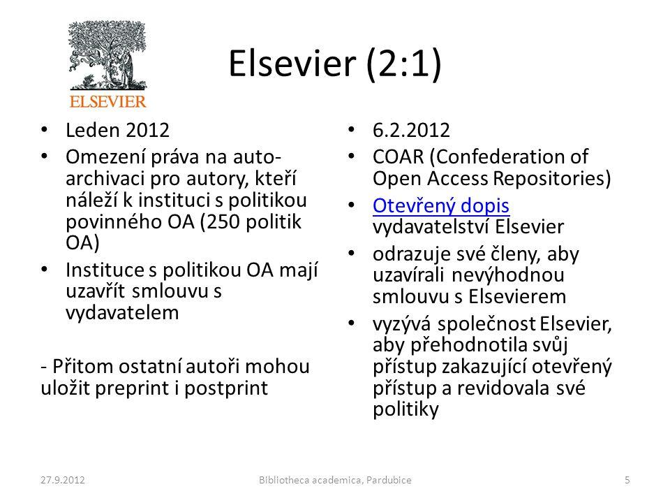 Elsevier (2:1) • Leden 2012 • Omezení práva na auto- archivaci pro autory, kteří náleží k instituci s politikou povinného OA (250 politik OA) • Instit
