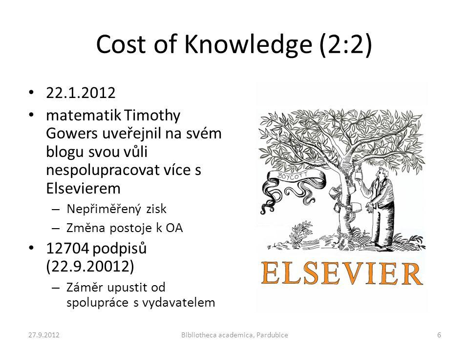 Cost of Knowledge (2:2) • 22.1.2012 • matematik Timothy Gowers uveřejnil na svém blogu svou vůli nespolupracovat více s Elsevierem – Nepřiměřený zisk