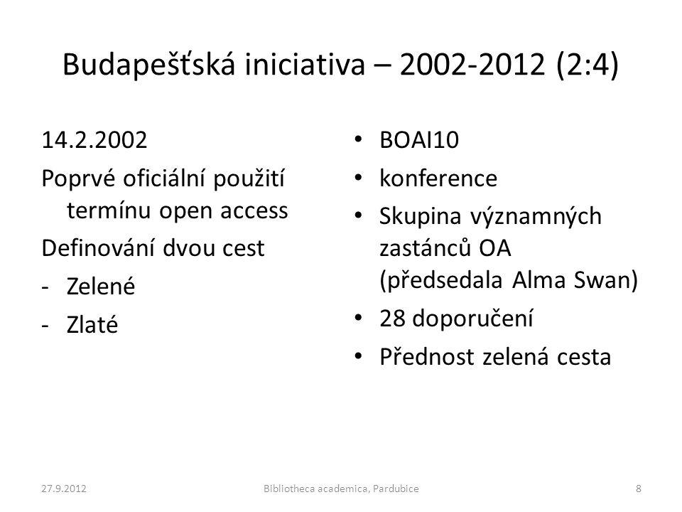 Budapešťská iniciativa – 2002-2012 (2:4) 14.2.2002 Poprvé oficiální použití termínu open access Definování dvou cest -Zelené -Zlaté • BOAI10 • konfere