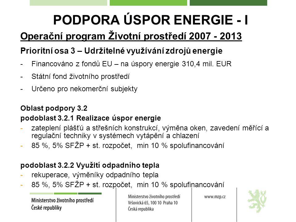 PODPORA ÚSPOR ENERGIE - I Operační program Životní prostředí 2007 - 2013 Prioritní osa 3 – Udržitelné využívání zdrojů energie -Financováno z fondů EU