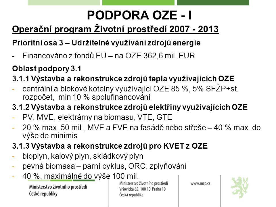 PODPORA OZE - I Operační program Životní prostředí 2007 - 2013 Prioritní osa 3 – Udržitelné využívání zdrojů energie -Financováno z fondů EU – na OZE