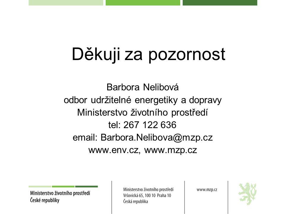 Děkuji za pozornost Barbora Nelibová odbor udržitelné energetiky a dopravy Ministerstvo životního prostředí tel: 267 122 636 email: Barbora.Nelibova@m