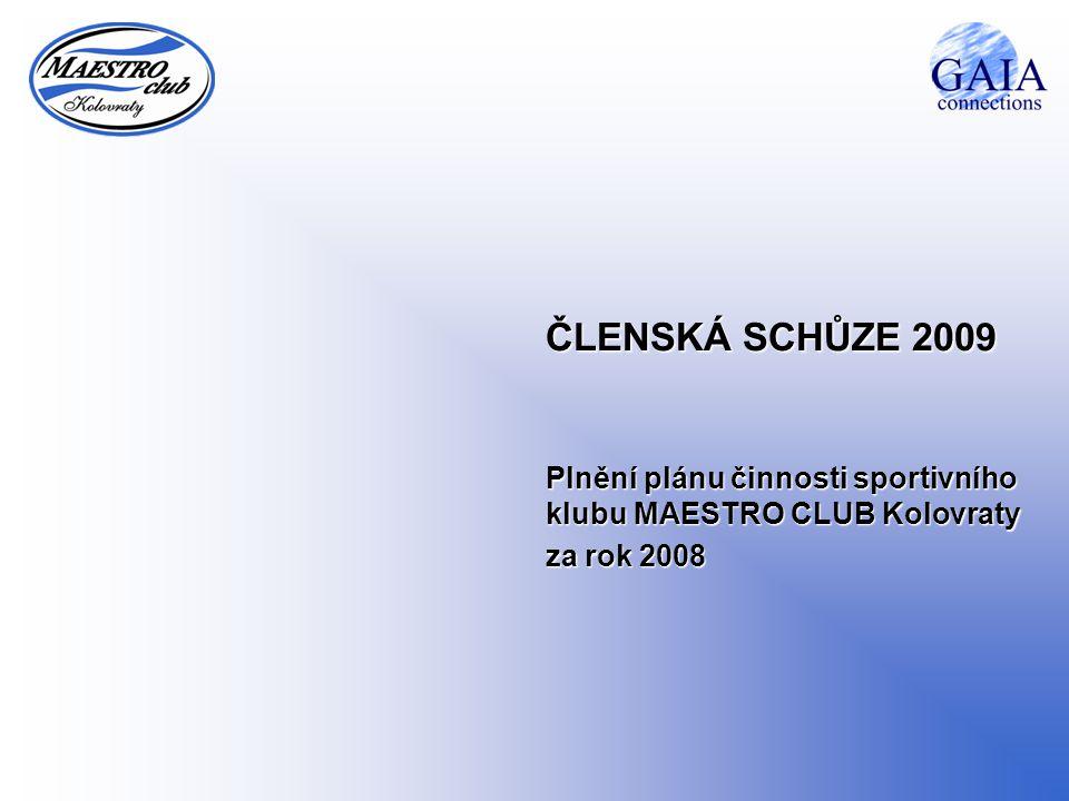 ČLENSKÁ SCHŮZE 2009 Plnění plánu činnosti sportivního klubu MAESTRO CLUB Kolovraty za rok 2008