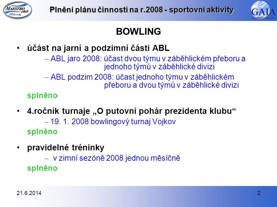 21.6.20142 Plnění plánu činnosti na r.2008 - sportovní aktivity BOWLING •účást na jarní a podzimní části ABL  ABL jaro 2008: účast dvou týmu v záběhl