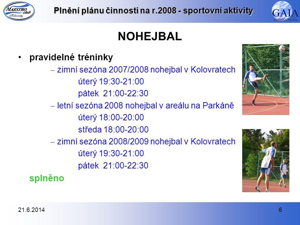 21.6.20146 Plnění plánu činnosti na r.2008 - sportovní aktivity NOHEJBAL •pravidelné tréninky  zimní sezóna 2007/2008 nohejbal v Kolovratech úterý 19