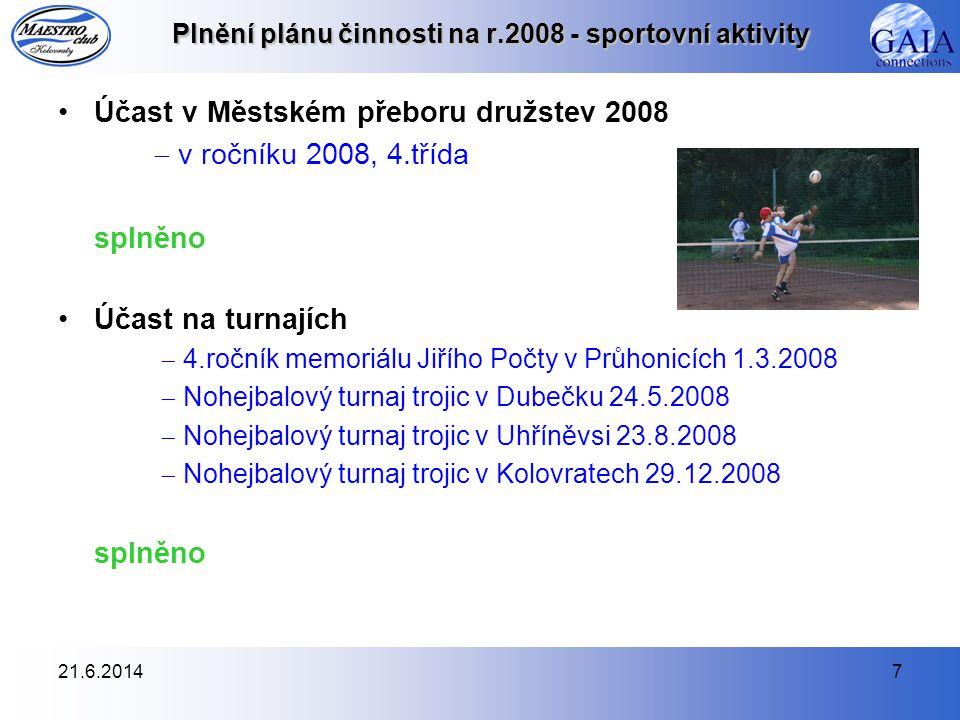 21.6.20147 Plnění plánu činnosti na r.2008 - sportovní aktivity •Účast v Městském přeboru družstev 2008  v ročníku 2008, 4.třída splněno •Účast na tu
