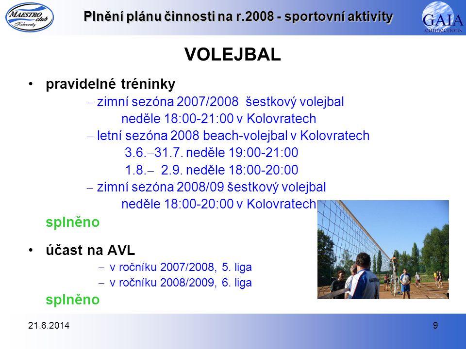 21.6.20149 Plnění plánu činnosti na r.2008 - sportovní aktivity VOLEJBAL •pravidelné tréninky  zimní sezóna 2007/2008 šestkový volejbal neděle 18:00-
