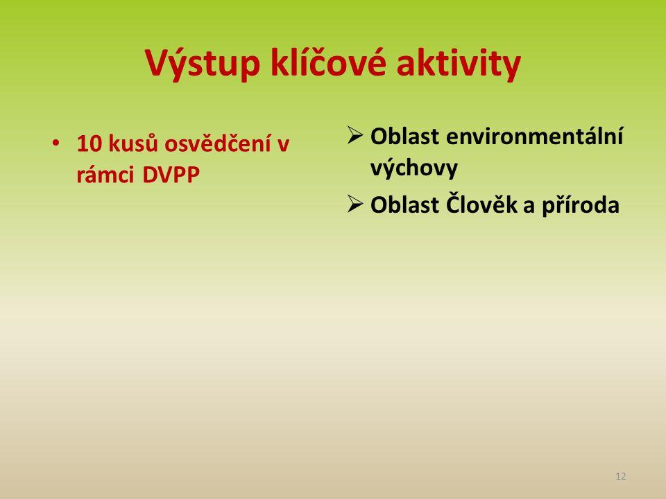 Výstup klíčové aktivity • 10 kusů osvědčení v rámci DVPP  Oblast environmentální výchovy  Oblast Člověk a příroda 12