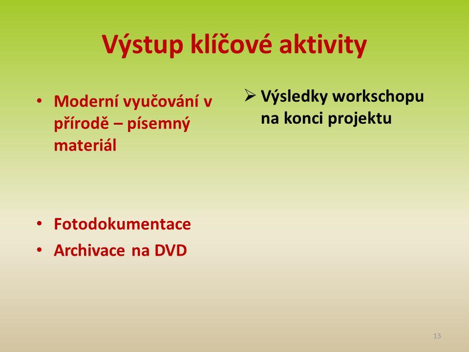 Výstup klíčové aktivity • Moderní vyučování v přírodě – písemný materiál • Fotodokumentace • Archivace na DVD  Výsledky workschopu na konci projektu