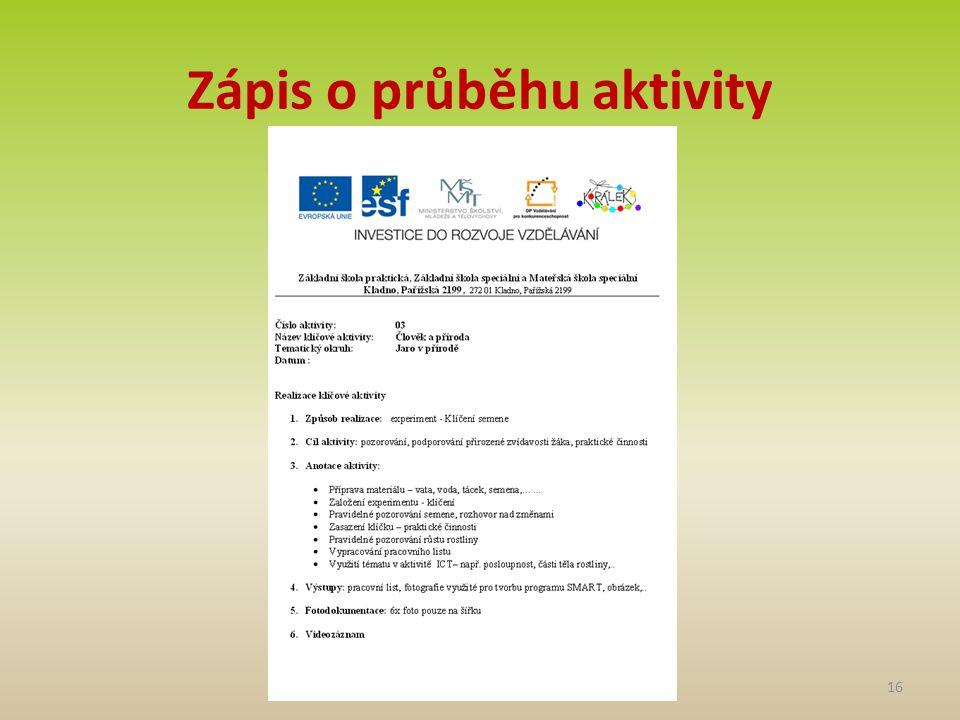 Zápis o průběhu aktivity 16