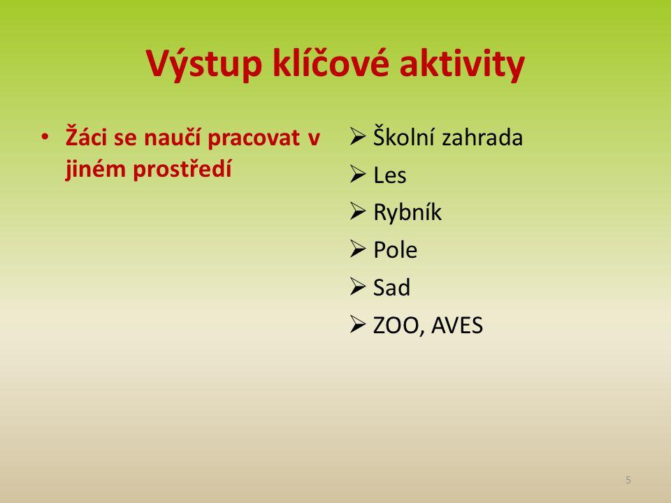 Výstup klíčové aktivity • Žáci se naučí pracovat v jiném prostředí  Školní zahrada  Les  Rybník  Pole  Sad  ZOO, AVES 5