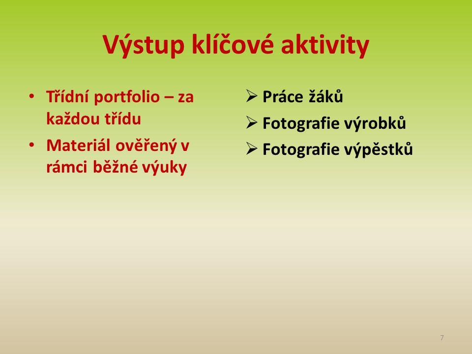 Výstup klíčové aktivity • Třídní portfolio – za každou třídu • Materiál ověřený v rámci běžné výuky  Práce žáků  Fotografie výrobků  Fotografie výp