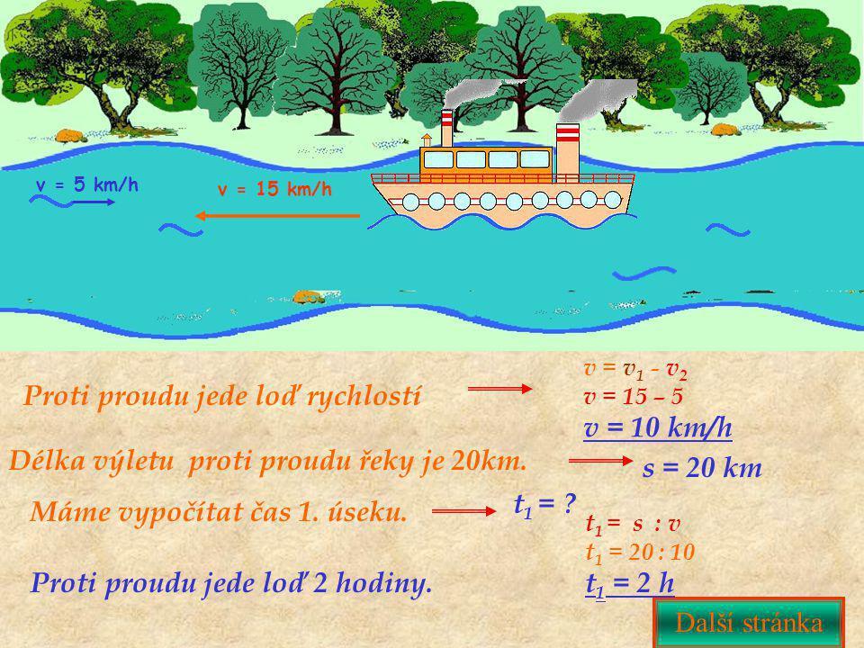 Proti proudu jede loď rychlostí Další stránka Délka výletu proti proudu řeky je 20km. v = 15 km/h v = 5 km/h v = v 1 - v 2 v = 15 – 5 v = 10 km/h Dalš