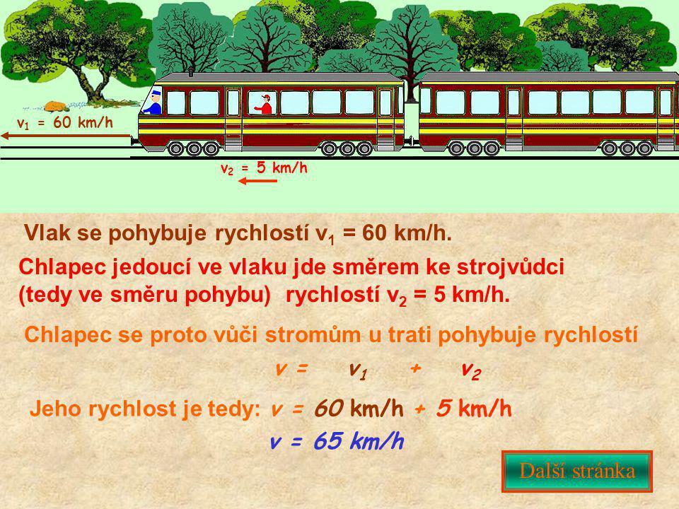 Vlak se pohybuje rychlostí v 1 = 60 km/h. Chlapec jedoucí ve vlaku jde směrem ke strojvůdci (tedy ve směru pohybu) rychlostí v 2 = 5 km/h. Chlapec se