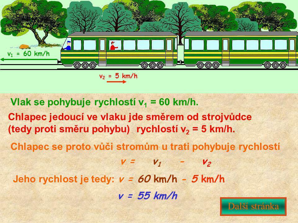 Vlak se pohybuje rychlostí v 1 = 60 km/h. Chlapec jedoucí ve vlaku jde směrem od strojvůdce (tedy proti směru pohybu) rychlostí v 2 = 5 km/h. Chlapec