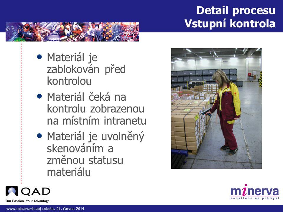 Do tohoto pole přizpůsobte vložený obrázek/y www.minerva-is.eu| sobota, 21. června 2014 Detail procesu Vstupní kontrola • Materiál je zablokován před