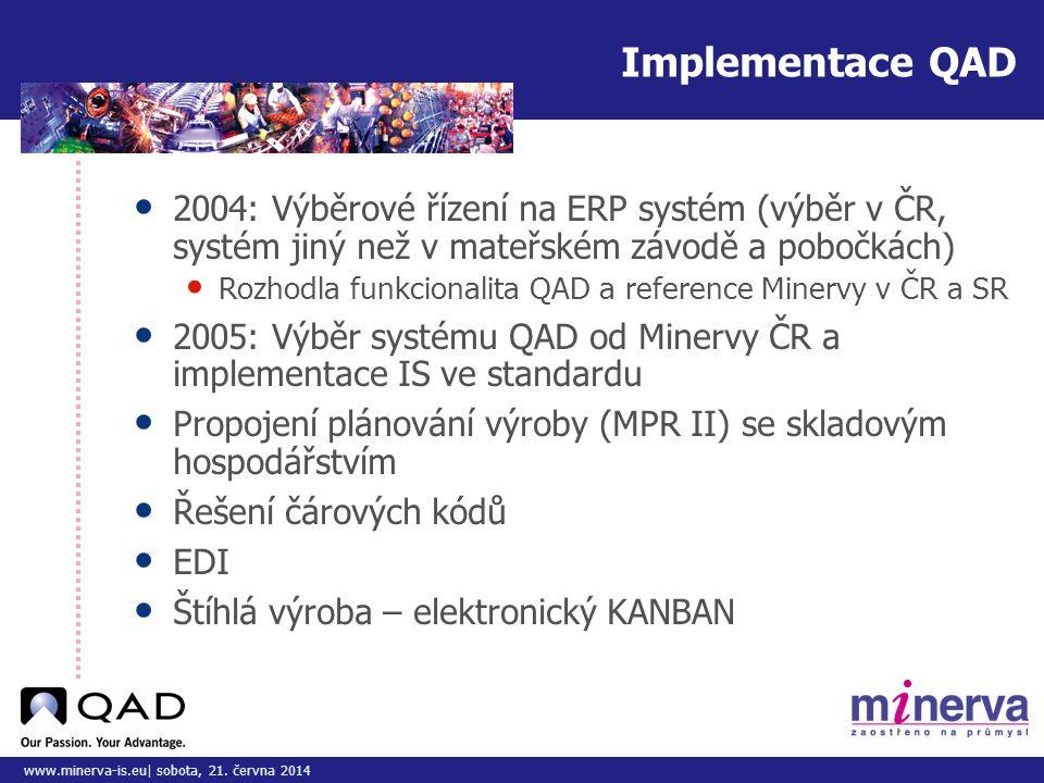 Do tohoto pole přizpůsobte vložený obrázek/y www.minerva-is.eu| sobota, 21. června 2014 Implementace QAD • 2004: Výběrové řízení na ERP systém (výběr