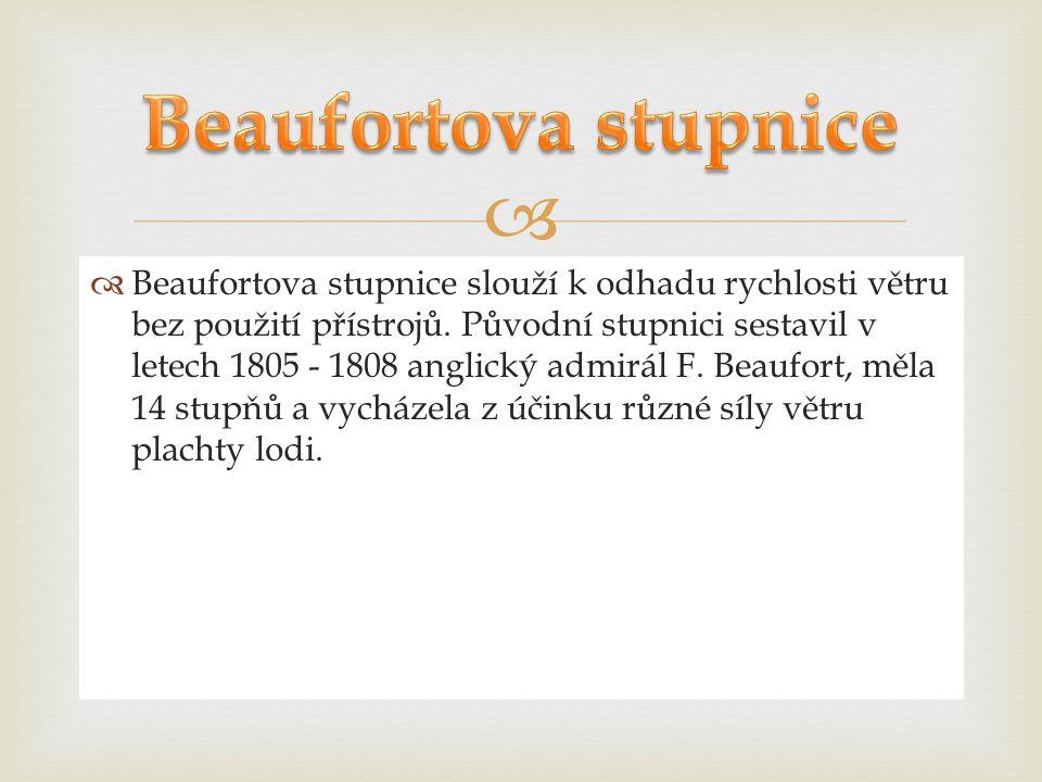   Beaufortova stupnice slouží k odhadu rychlosti větru bez použití přístrojů. Původní stupnici sestavil v letech 1805 - 1808 anglický admirál F. Bea