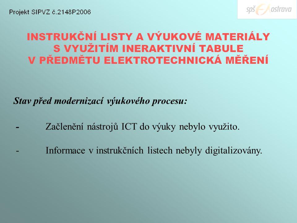 Stav před modernizací výukového procesu: -Začlenění nástrojů ICT do výuky nebylo využito.