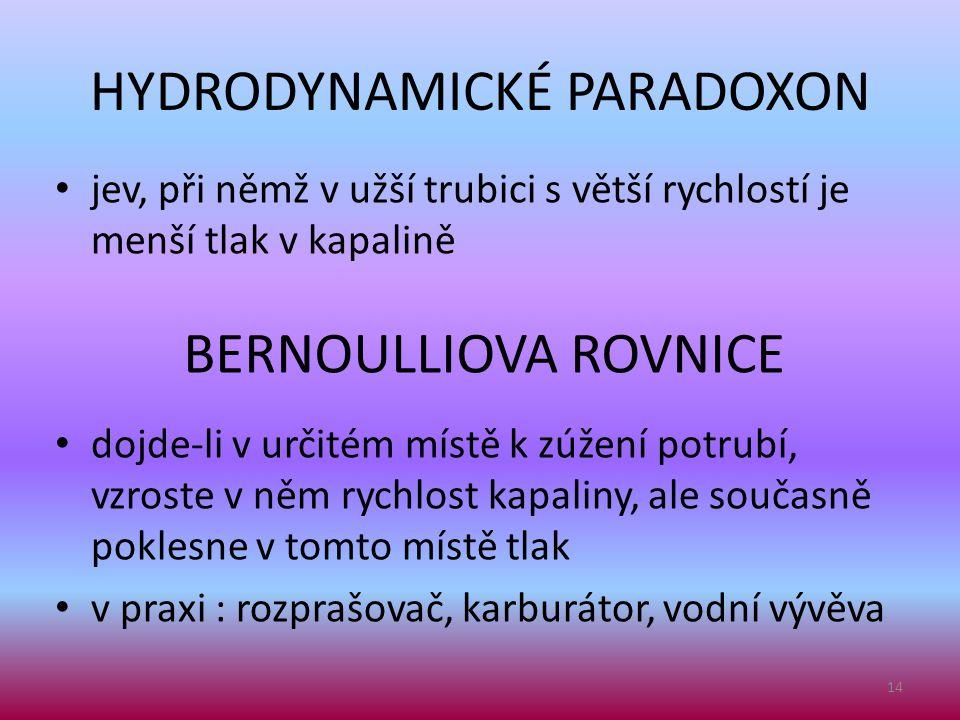 HYDRODYNAMICKÉ PARADOXON • jev, při němž v užší trubici s větší rychlostí je menší tlak v kapalině 14 BERNOULLIOVA ROVNICE • dojde-li v určitém místě