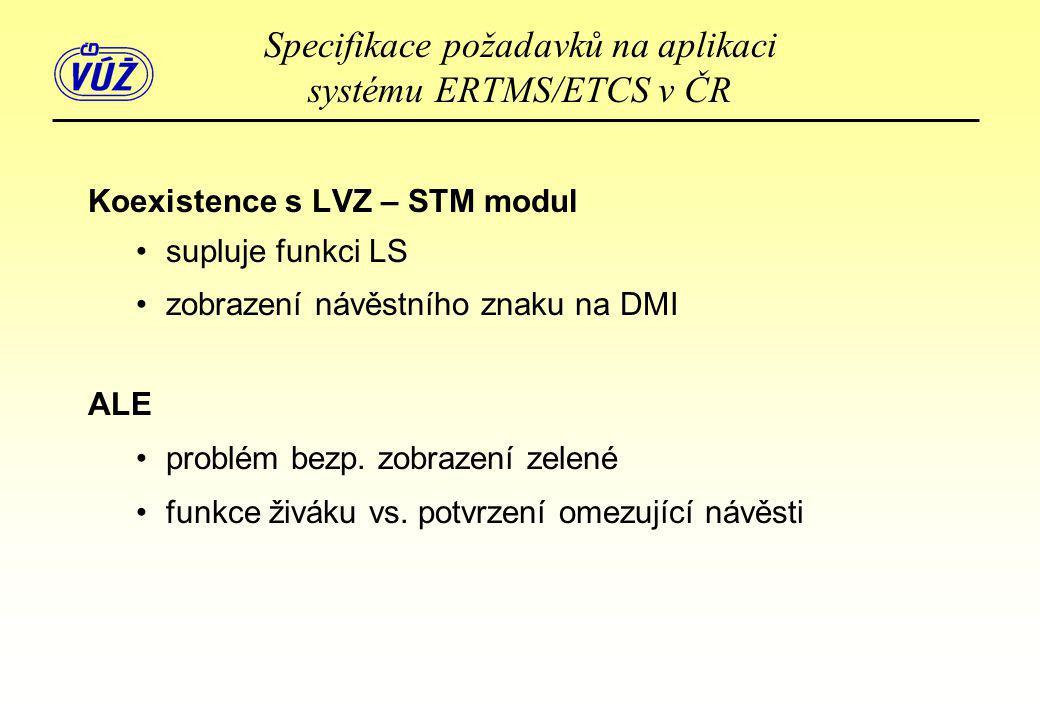 Koexistence s LVZ – STM modul •supluje funkci LS •zobrazení návěstního znaku na DMI ALE •problém bezp. zobrazení zelené •funkce živáku vs. potvrzení o