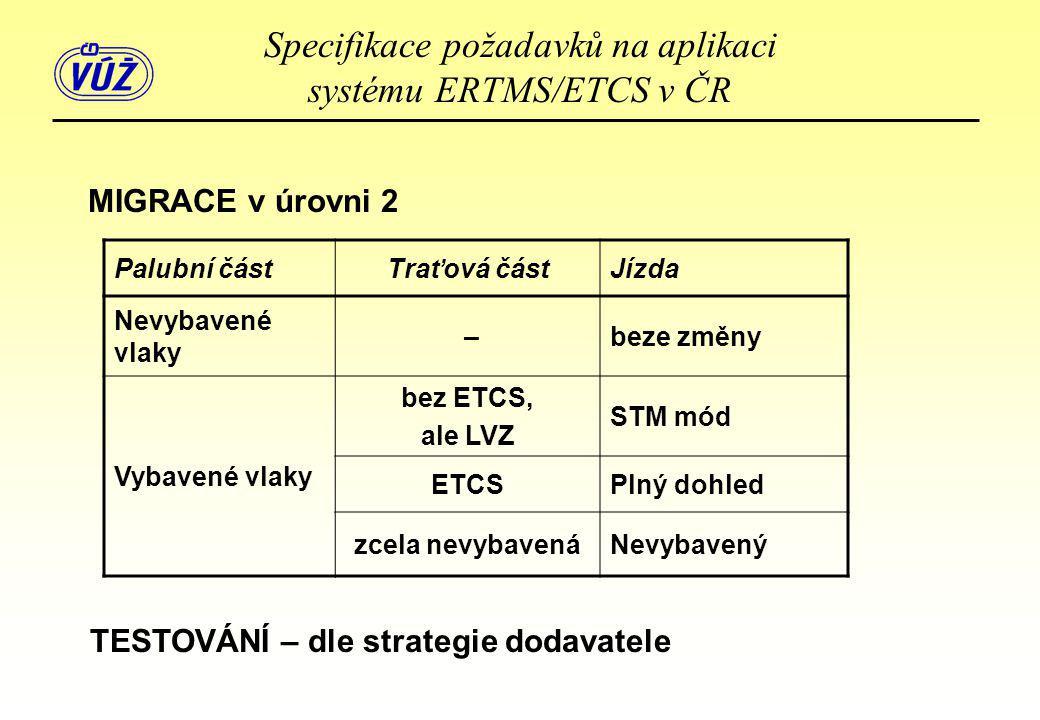 MIGRACE v úrovni 2 Palubní částTraťová částJízda Nevybavené vlaky –beze změny Vybavené vlaky bez ETCS, ale LVZ STM mód ETCSPlný dohled zcela nevybaven
