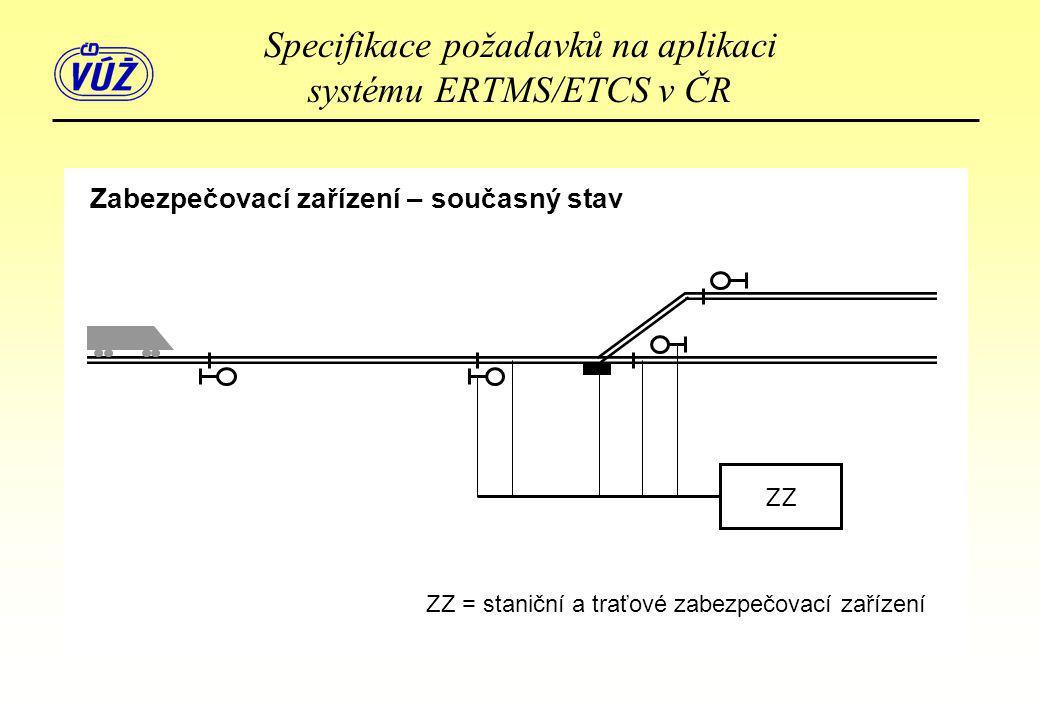 Zabezpečovací zařízení – současný stav ZZ ZZ = staniční a traťové zabezpečovací zařízení Specifikace požadavků na aplikaci systému ERTMS/ETCS v ČR