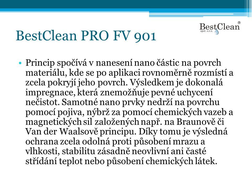 BestClean PRO FV 901 •Princip spočívá v nanesení nano částic na povrch materiálu, kde se po aplikaci rovnoměrně rozmístí a zcela pokryjí jeho povrch.