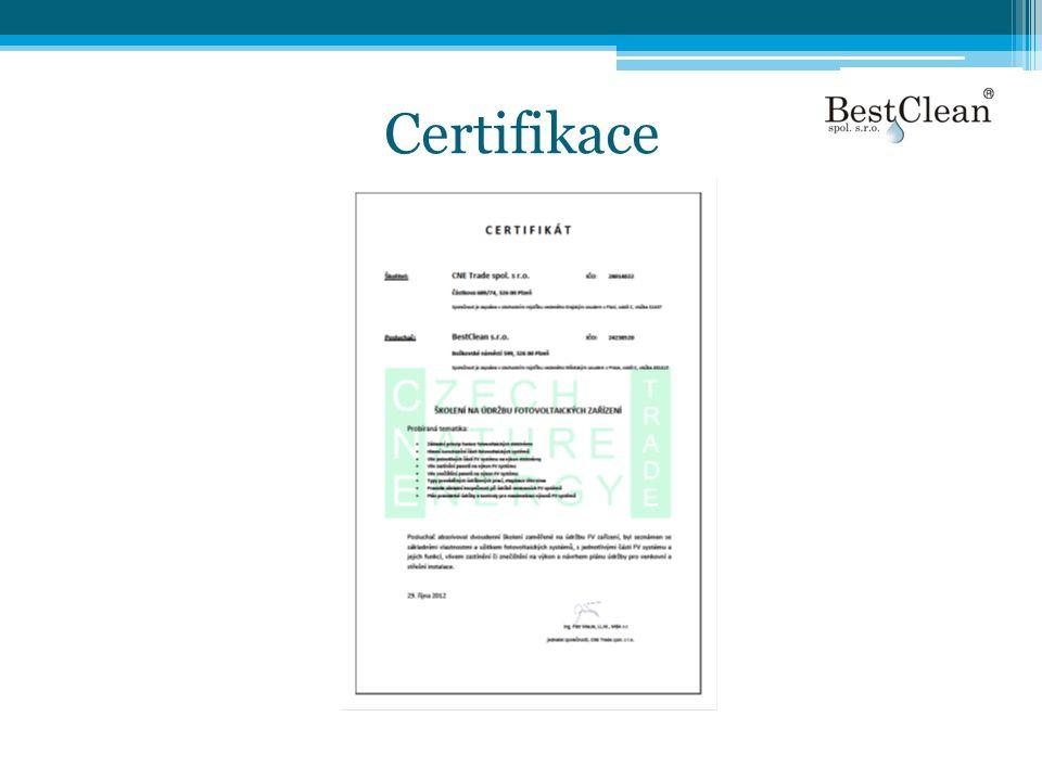 Kontakt a poptávka •Při poptávce je třeba uvádět výměru FV •Lokalitu •Datum uvedení do provozu •Bestclean.: +420 724 980 427.