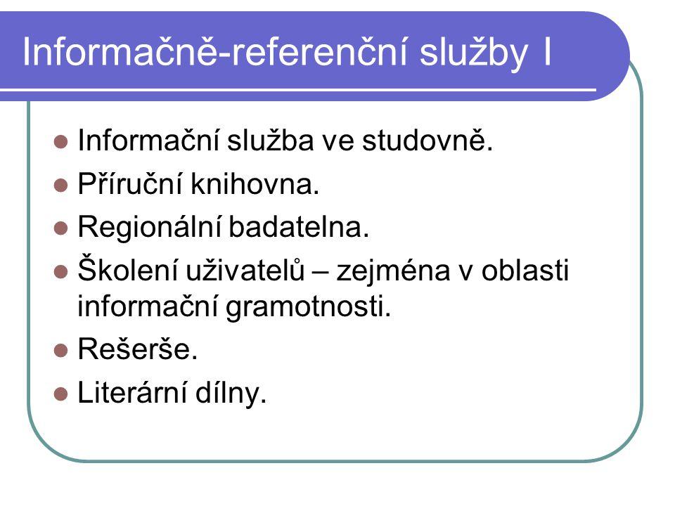 Informačně-referenční služby I  Informační služba ve studovně.